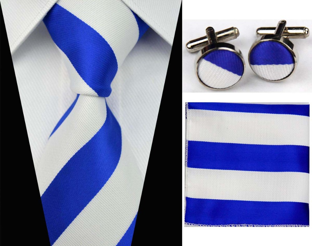 SNT0005 2014 Blue white Striped Smooth Classic Silk Neck Tie Fashion Casual Knitted Tie Necktie Cufflinks