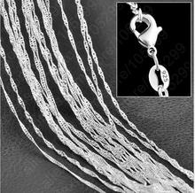 "10PC Fine Jewelry Findings 16""-30"" Necklace Chains  Silver Plated 1.0MM Wave Chain+Lobeter Clasp Jewellery Sets For Pendant(China (Mainland))"