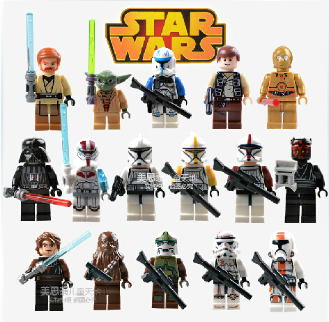 16Pcs/lot Star Wars Clone Troopers Figures Buliding Blocks Minifigures Model Toys Bricks Compatible with Lego