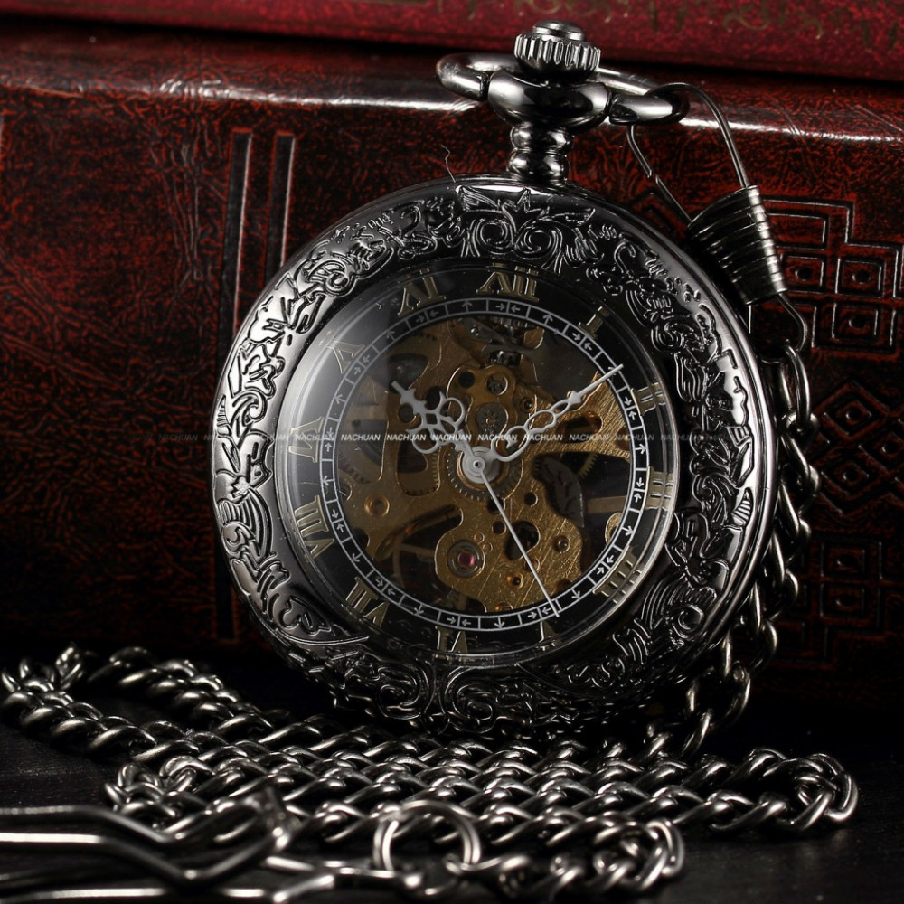 Steampunk Skeleton Male Clock Transparent Mechanical Copper Open Face Retro Ver Vintage Pendant Pocket Watch Gift