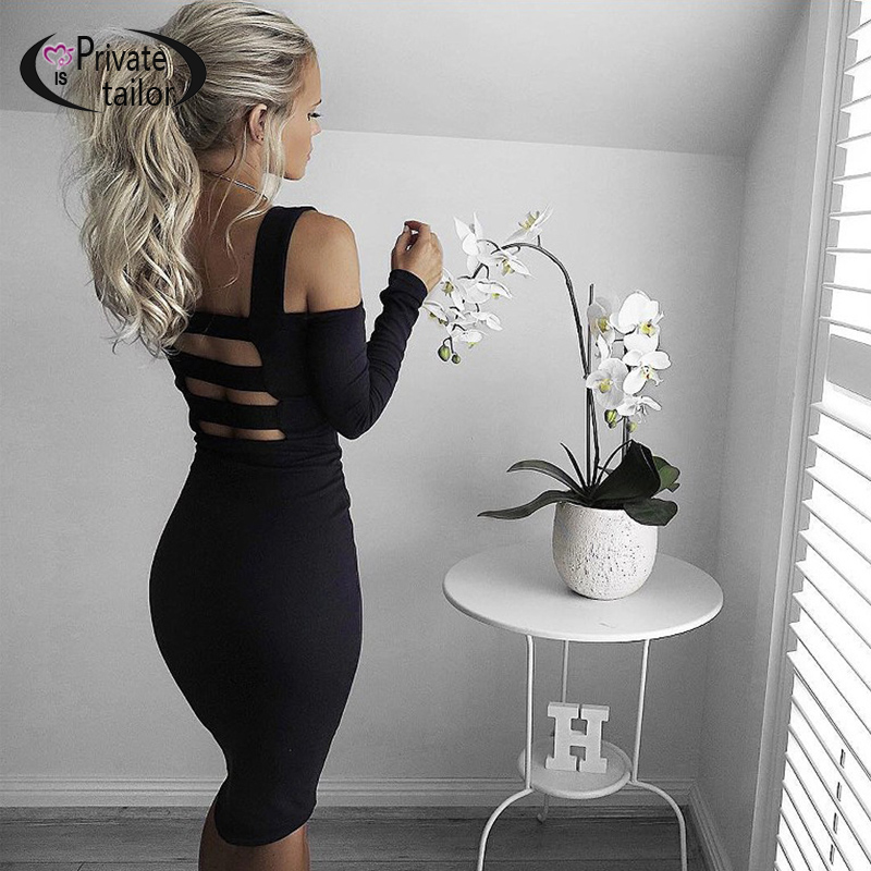 2016 New Arrival Sexy Dress Off shoulder hollow out Sexy Back dresses long sleeve whosale price(China (Mainland))