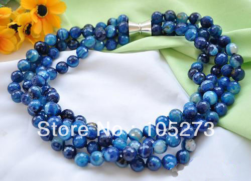 Wholesale Semi-Precious Stone Jewelry 4Row 20 12mm Blue Round Faceted Agate Bead Necklace White Magnet Clasp New Free Shipping<br><br>Aliexpress