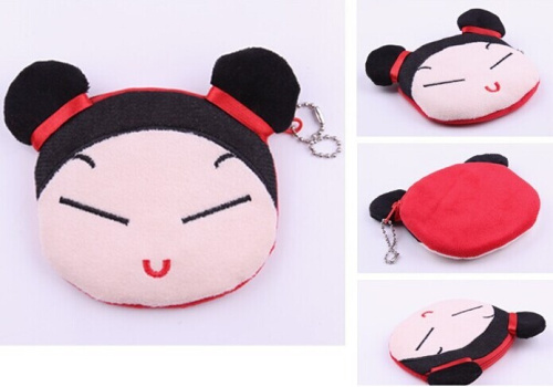 Cute Pucca China Girl Plush Cotton 10*10CM Coin Purse Wallet Pouch Case BAG Women Lady Bags Pouch Makeup Case Holder BAG Handbag(China (Mainland))