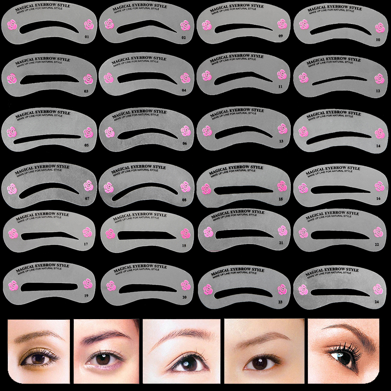 24 Styles Eyebrow Stencils Reusable Eyebrow Drawing Guide Card Brow