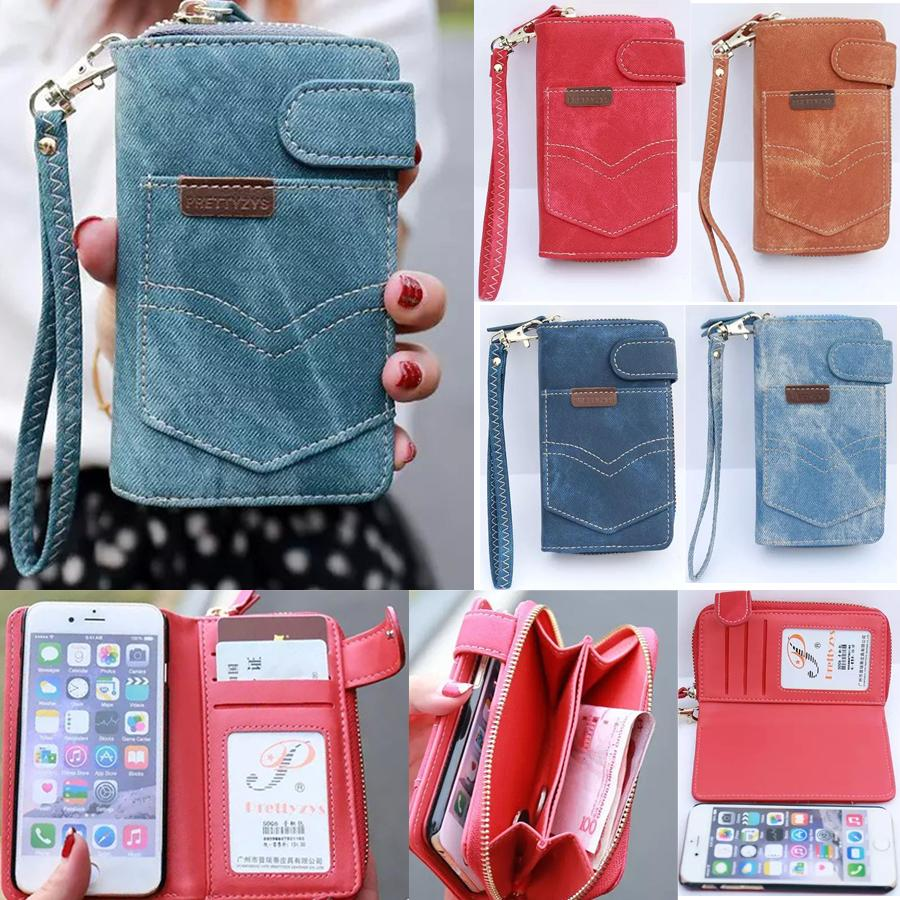 """For Apple iPhone 6G 4.7"""" Denim Zipper Wallet Bag Phone Case Removable Cover with Card Solt & Lanyard free shipping(China (Mainland))"""