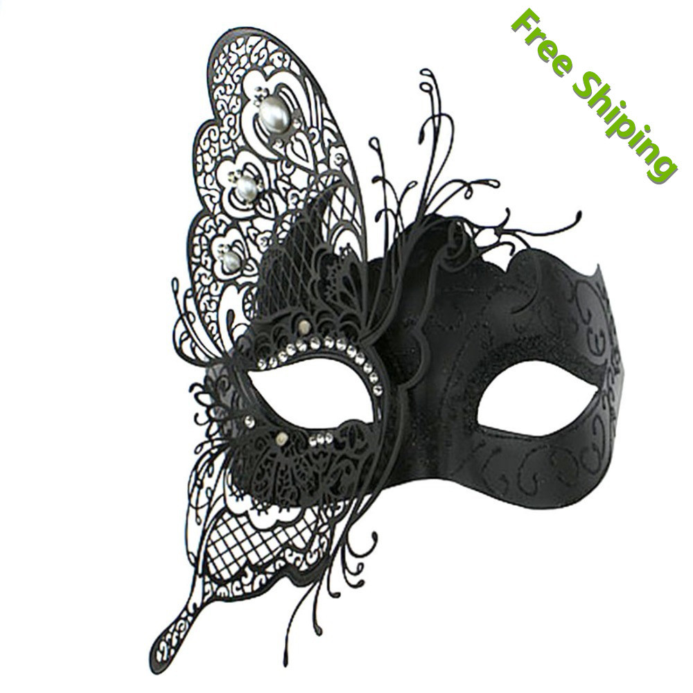 New fashion Black Metal Butterfly Design Filigree Collection Venetian Masquerade MardiGras Halloween Eye Mask Free Shipping(China (Mainland))