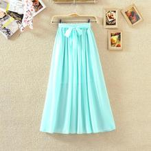 Summer Fashion 2016 Casual Teenage Girl's Party Bow Knot Pleated Maxi Retro Elastic Waist Belt Long Pleated Skirt(China (Mainland))