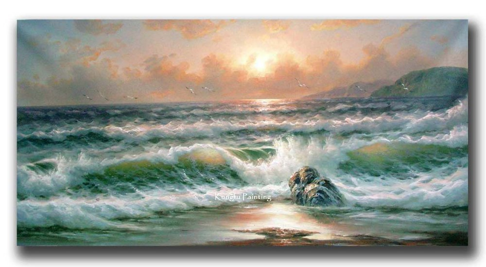 100% hand painted high quality canvas ocean waves oil ...