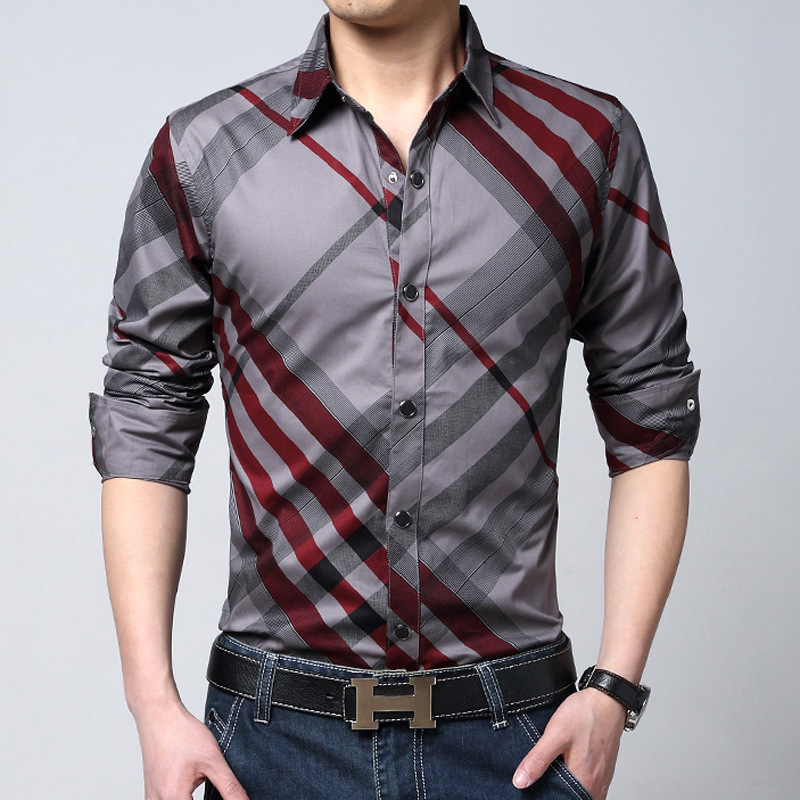 2015 new spring brand mens blue white red plaid shirts for Red and white plaid shirt mens