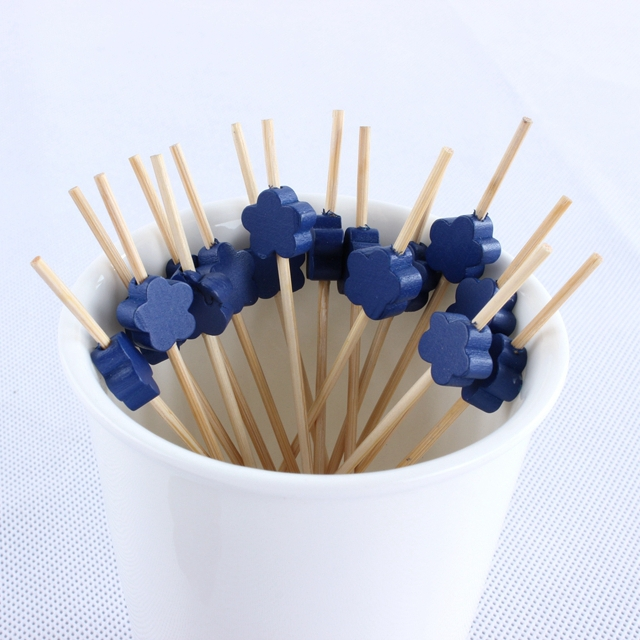 Craft bamboo cafe lounge disposable toothpicks Creative fruit dessert fruit fork sign blue flowers(China (Mainland))