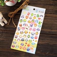 Nouveau 1 feuille mignon dessin marché journal Transparent Scrapbooking calendrier Album décor autocollant hibou girafe imprimer jouet autocollant(China)