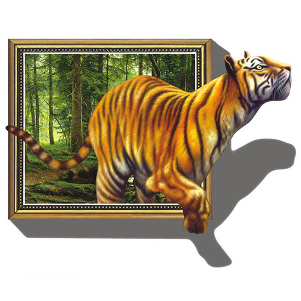 3D Vision Wall Sticker Cool Cartoon Tiger Wall Stickers Home Decor Living Room on The Wall Room Decoration Dropshipping