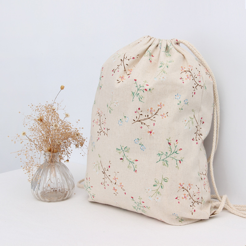 Wholesale Cotton&linen Sport Storage Bag Backpack for Beach Travel Shoes Laundry Makeup Pouch Women Drawstring Bag Kids Gifts(China (Mainland))