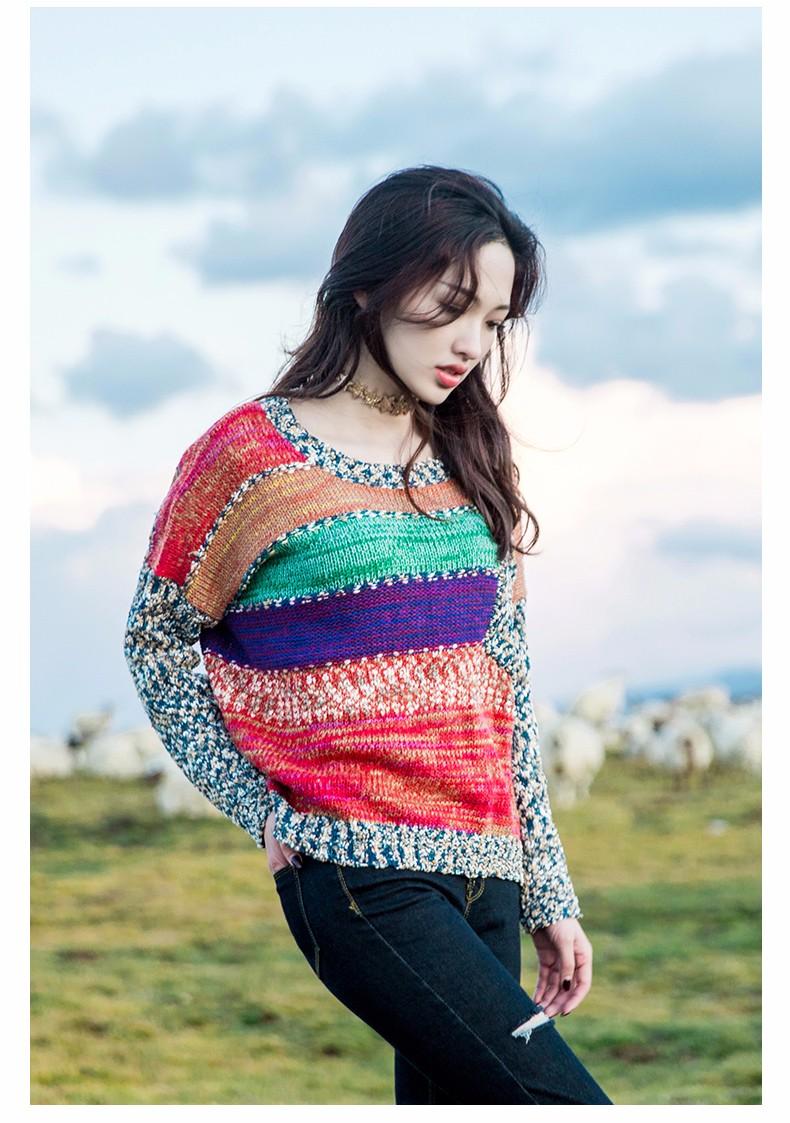 VVOBและโรงการออกแบบใหม่สายรุ้งลายถักเสื้อกันหนาวO-คอหลวมผู้หญิงP Ulloversท็อปส์ที่มีสีสันฤดูใบไม้ร่วงผู้ชนะเสื้อกันหนาวหญิง ถูก