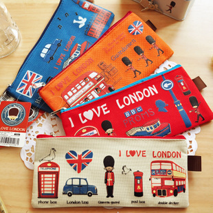 London Style Flyby Canvas Storage Bag Pencil Case  School Supplies Cosmetic Makeup Bag Zipper Pouch Purse