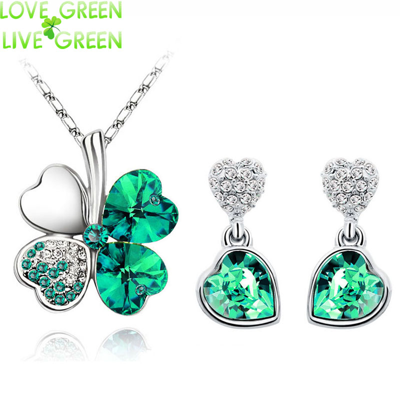 floating heart wedding jewelry sets 18K white Gold Plated Crystal Clover four Leaf leaves Necklace Earrings jewelry Sets 9554(China (Mainland))