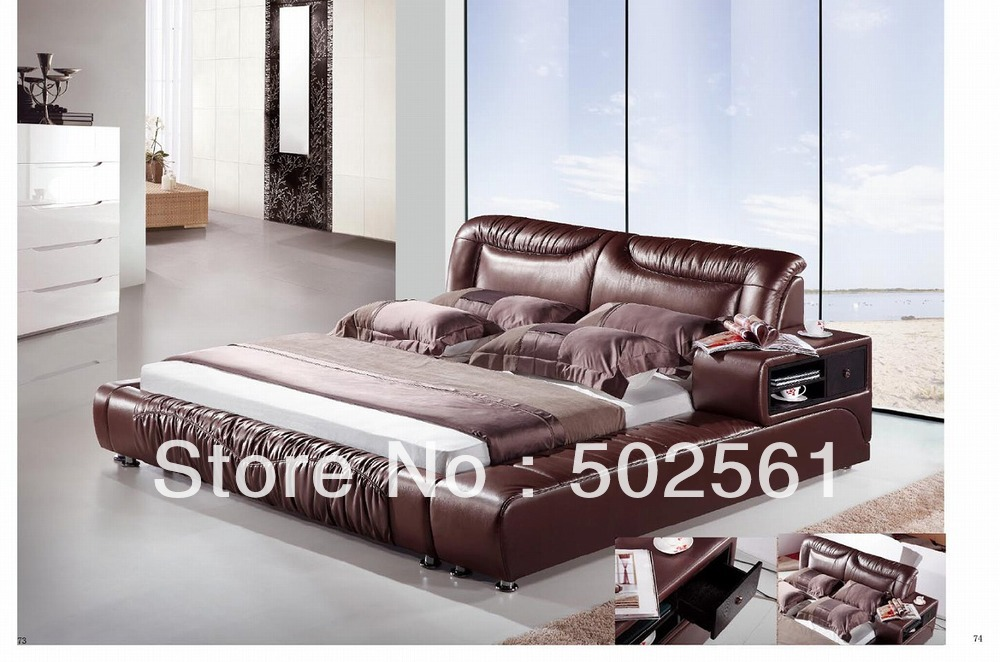 2014 new modern leather bed with storage drawer include salt cabinet ottoman(China (Mainland))