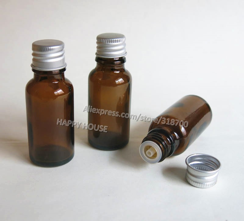 Free shipping -  360  x 20ml Amber Glass Bottle, 20cc Brown Glass Bottle With Silver Lids, Glass Container<br><br>Aliexpress