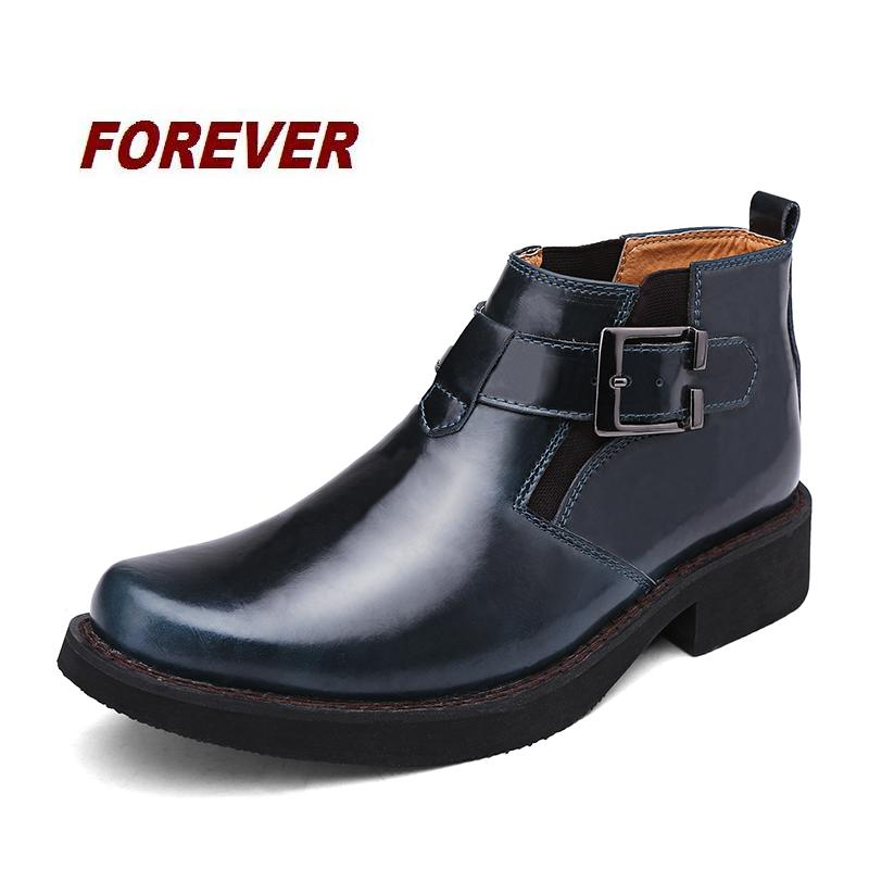HOT in 2015 autumn winter boots men cow leather boots buckle british fashion ankle boots style men shoes luxury black boots