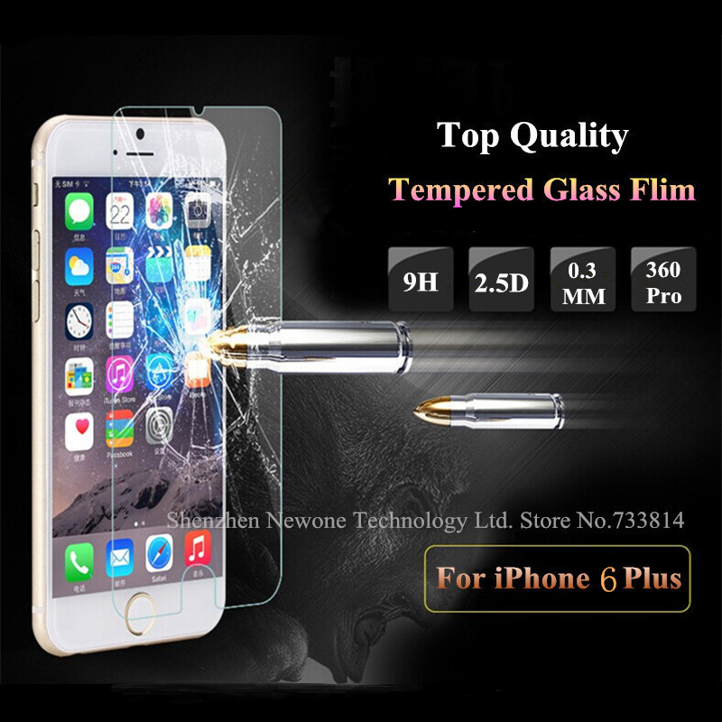 Top Quality 0.3 mm LCD Clear Tempered Glass Screen Protector Protective Film For iPhone 6 Plus 5.5 inch With Retail Package PY(China (Mainland))