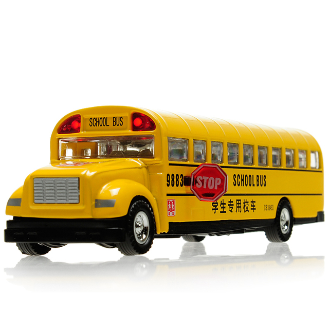 Free shipping Classic school bus alloy car models plain WARRIOR inertia car model toy car