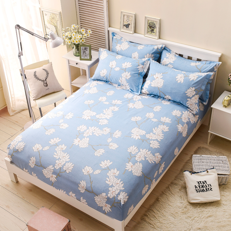 Home Bedding Cotton Mattress Protector Bed Colored Mattress Cover Fitted Bed Sheet for Girls OM020(China (Mainland))