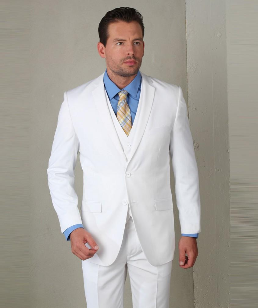 2016 New Arrival Groom Tuxedos White Wedding Suits For Men Notched Lapel Mens Suits Two Button