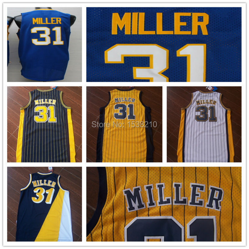 Free Shipping Indiana #31 Reggie miller Basketball Jersey,Rev 30 Throwback Basketball Jersey,Authentic Retro Jersey.(China (Mainland))