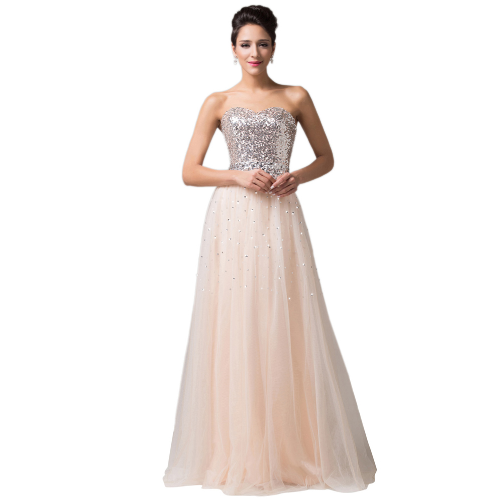 Newest Lovely Sequins Apricot Tulle Prom Dresses Long