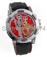free shipping Newest Style  Football Club Badge Design Round Steel Watch Dial Leatherette Band Men's Wrist Watch (Black)