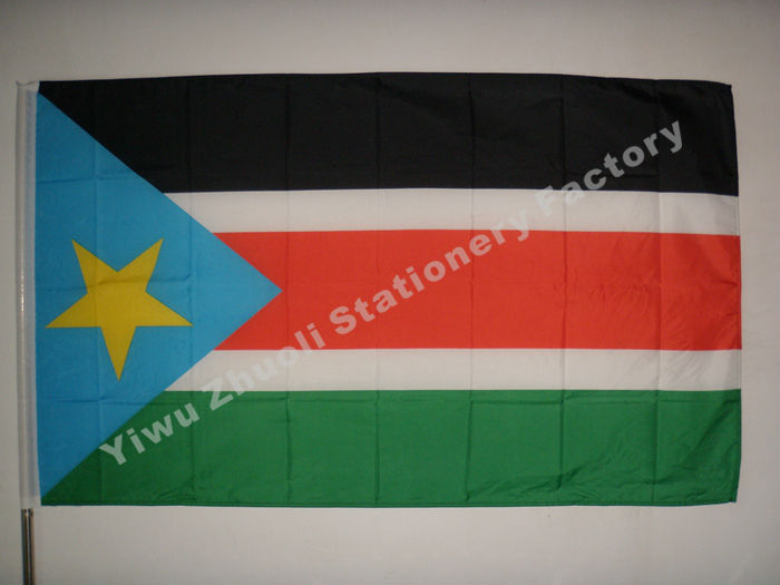South Sudan flag 150X90cm (3x5FT) 115g 100D Polyester double stitched high quality free shipping(China (Mainland))
