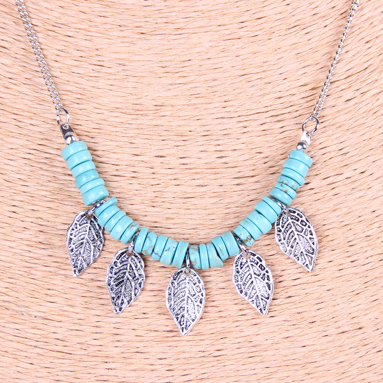 European USA popular vintage necklace, multilayer natural stone turquoise indiana jewelry - siwei fashion store