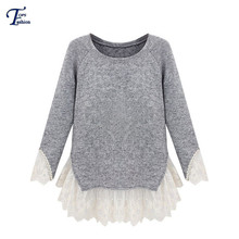 Latest Women Spring  Sweaters Winter Fashion Grey Long Sleeve Free Shipping Contrast Lace Cute Casual Knit Sweater(China (Mainland))