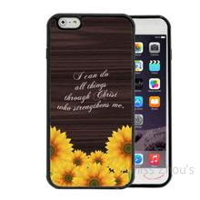 For iphone 4/4s 5/5s 5c SE 6/6s 7 plus ipod touch 4/5/6 mobile cellphone cases cover Philippians 4:13 Verse Sunflowers On Wood