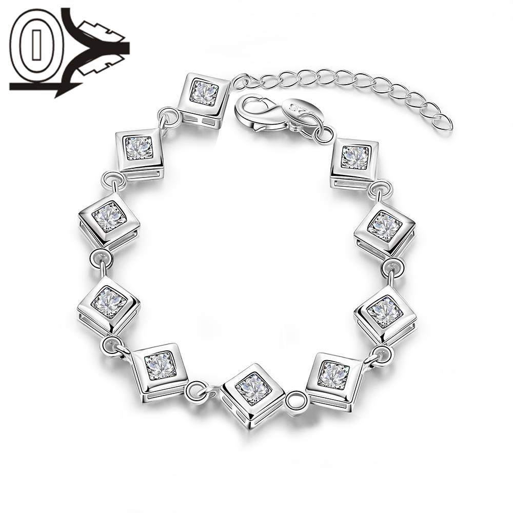 2016 New Arrival Silver Plated Bracelet,Wedding Jewelry Accessories,Fashion White Stone Inner Cubes Bracelets Bangle Gift(China (Mainland))