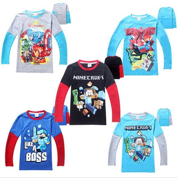2015 Baby Boys Cartoon Sweatshirt Brand Children Tops Long Sleeve T-Shirt 4-12T Kids Cotton Clothing 040 - SNOW LOVE store
