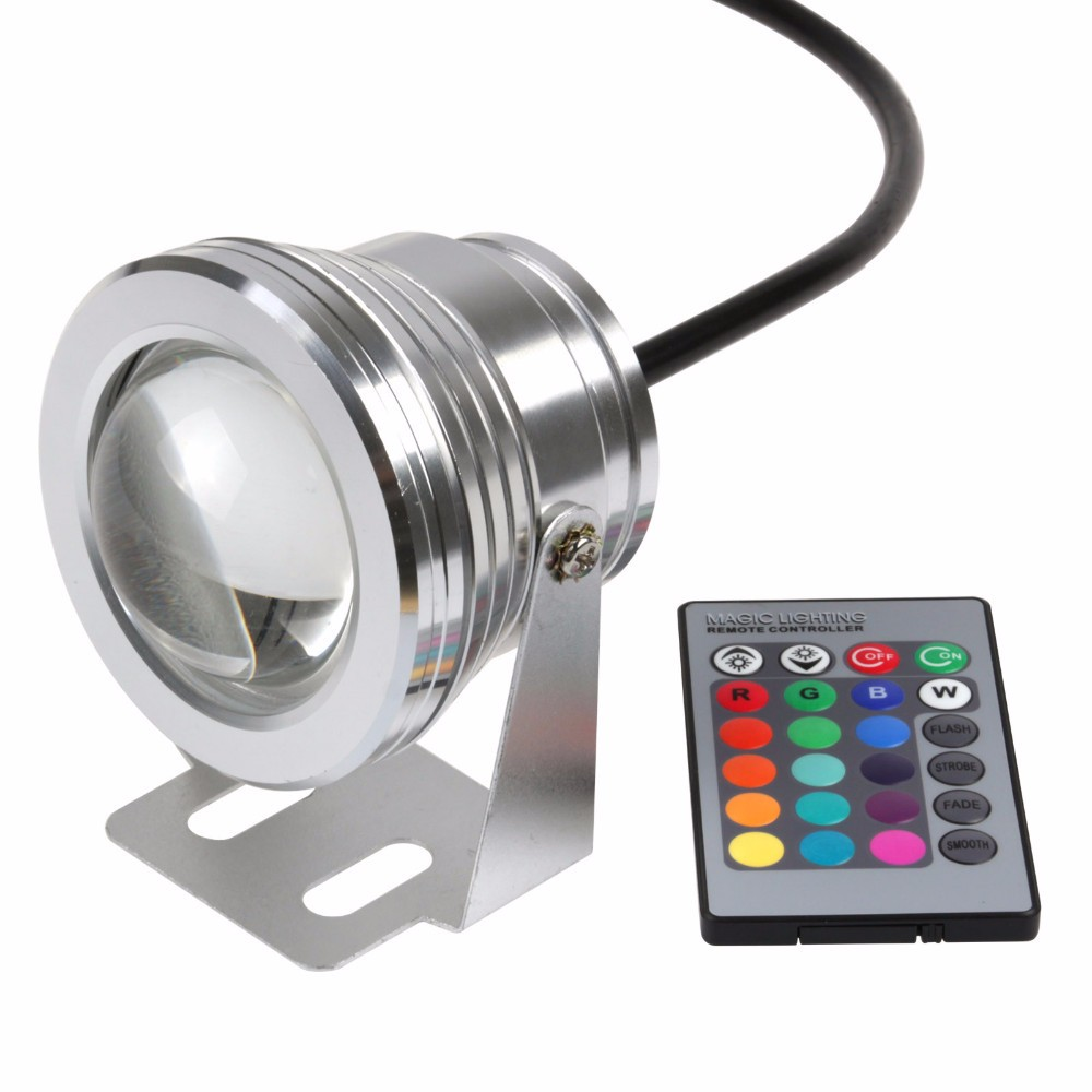 90% OFF 12V underwater RGB Led Light 1000LM Waterproof IP68 fountain pool Lamp Lights16 color change+24key IR Remote controller(China (Mainland))