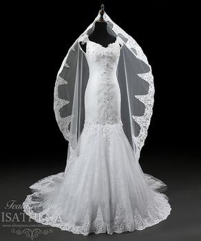 Дизайнер кружева аппликации V декольте рукавом русалка элегантные свадебные платья свадебные платья Vestido де noiva 2015 i0086