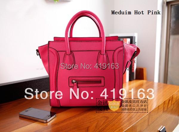 2014 New Fashion Vintage Europen Smiley Bags PU Leather Brand Designer Messenger Candy Color Mini/Medium/Big Nano Handbag A007(China (Mainland))