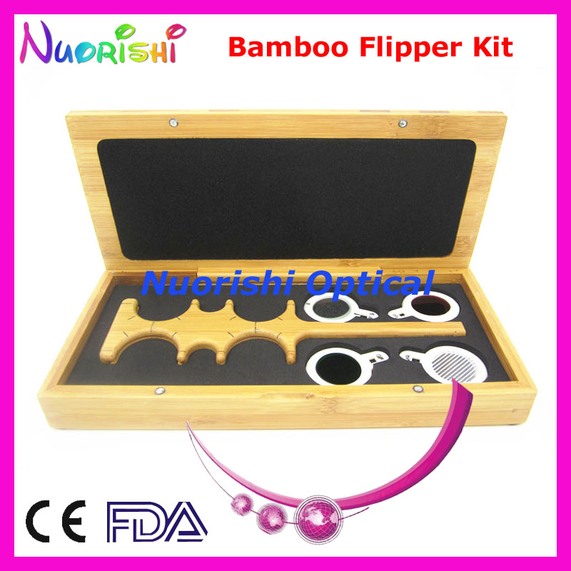 Bamboo Confirmation Flipper Test Rack Frame Trial Lens Vision Tester Kit Set Case Box E04-2511B Free Shipping(China (Mainland))