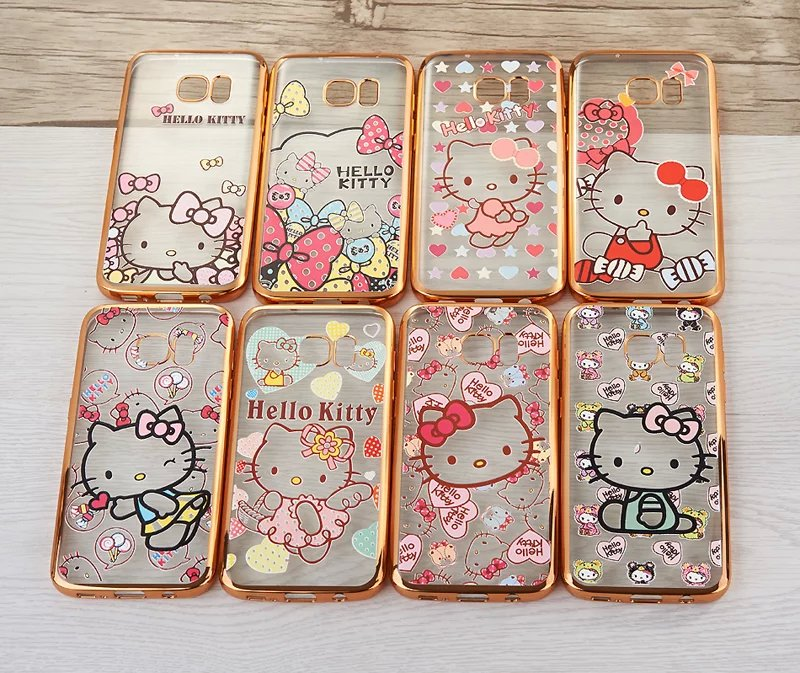 Cute Girlish Hello Kitty Cell Phone Cases For Samsung Galaxy S7 S7edge edge Women Soft Plating Gold Girl Mobile Back Case Cover(China (Mainland))
