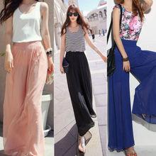 Wholesale Lady Wide Leg Chiffon High Waist Pants Long Loose Culottes Trousers(China (Mainland))