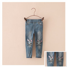 Retail 2015 New Summer Cat Cartoon Pattern Kids Jeans Fashion Cute High Quality Children Very Casual