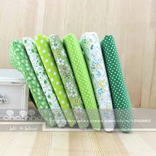"7 Designs mixed ""Green Color"" Cotton Fabric Fat Quaters Tilda cloth Quilting scrapbooking Patchwork Fabric 50*50CM"