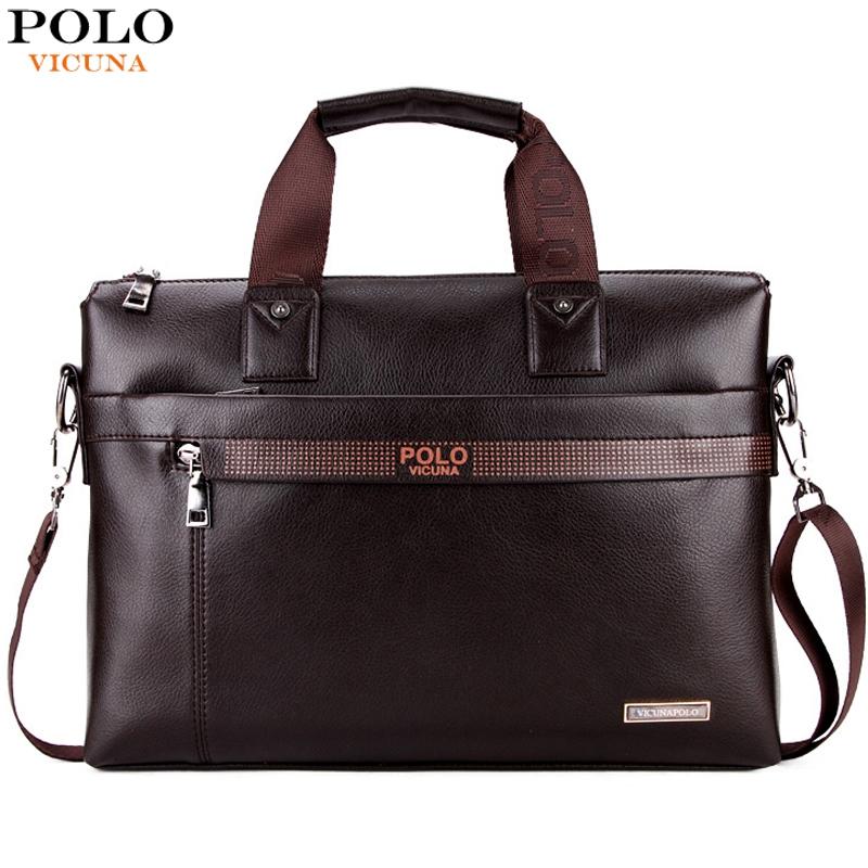 VICUNA POLO Promotion Simple Dot Famous Brand Business Men Briefcase Bag Luxury Leather Laptop Bag Man Shoulder Bag bolsa maleta(China (Mainland))