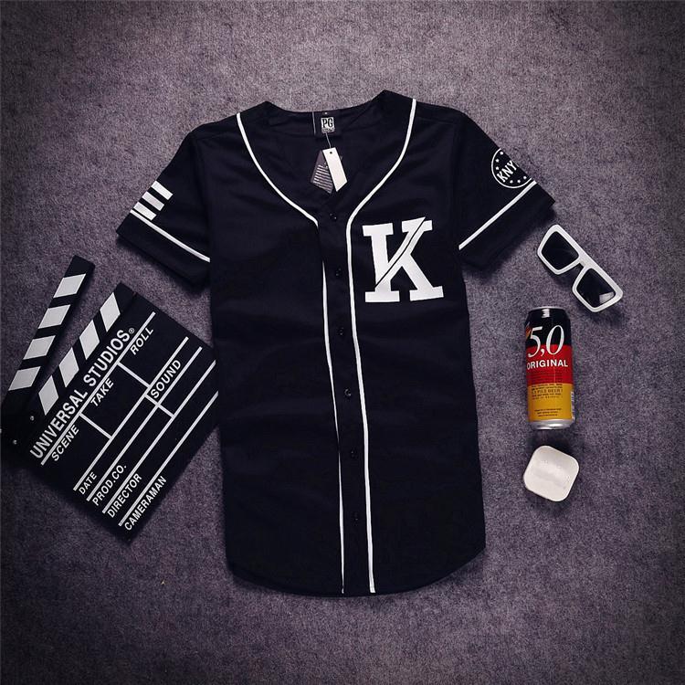 Mens fringe baseball jersey design black  white patchwork t shirt 07 K print short sleeve man tshirts casual hip hop tops tee(China (Mainland))