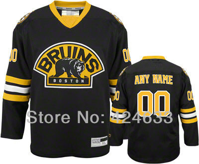 Customize Black Bruins Jerseys Authentic - personalized Cheap ICE Hockey Jerseys China Sewn On Any Number &amp; Name  YS-6XL<br>