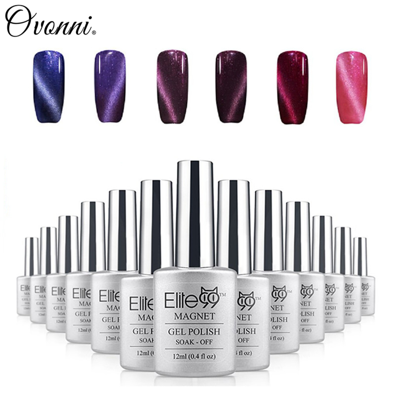 Elite99 Guaranteed 100% cat eyes gel 6pcs/lot Color Soak Off Magnetic UV nail polish 12ml Manicure Art lasting Lacquer 24 colors(China (Mainland))