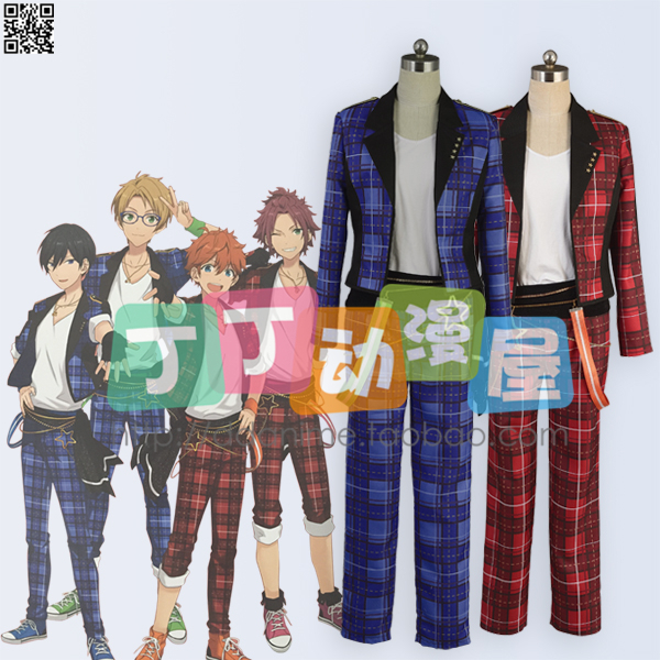 Free Shipping ! Ensemble Star Mao Isara Trickstar Red Plaid Suits Cosplay Costume! Acceptable order,HalloweenОдежда и ак�е��уары<br><br><br>Aliexpress