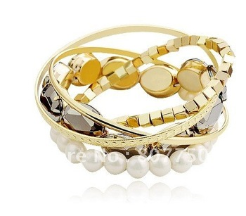 Free Shipping!!!sweet and lovely multi-elements pearl bracelet,gold, YB-018